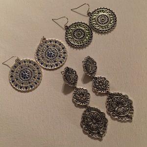 3 pair of earrings